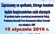zaproszenie dla wąsoskich seniorów na spotkanie dnia 15.01.2019